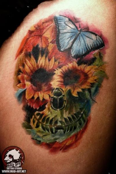 Flower Scull and Butterfly tattoo by Mad-art Tattoo