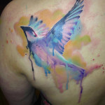 Fly Fast Sparrow Aquarelle tattoo by Adam Kremer
