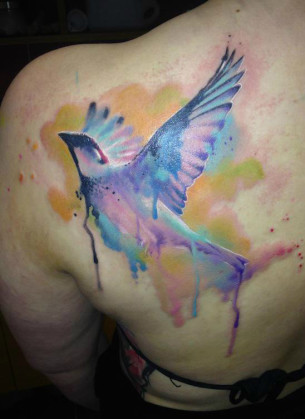 Fly Fast Sparrow Aquarelle tattoo by Adam Kremer