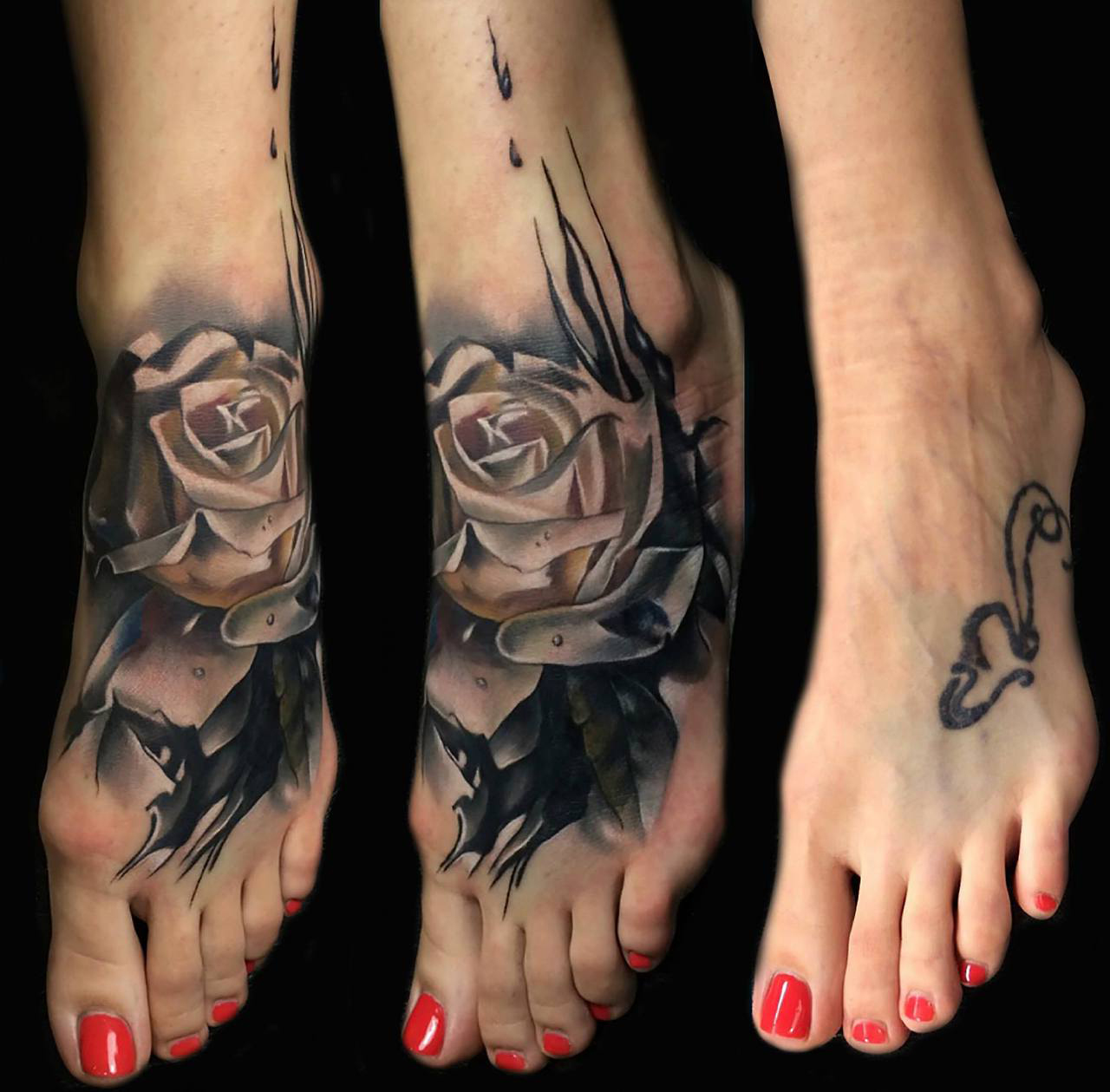 Foot Rose Cover Up tattoo design