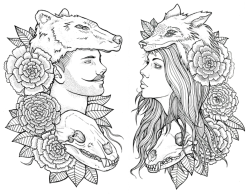 Fox and Bear tattoo sketch