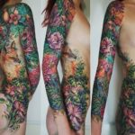 Fox and Lizard Flowers tattoo sleeve