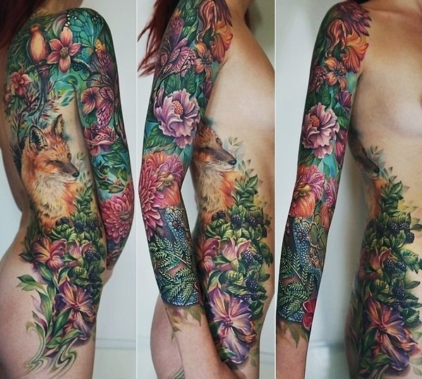 Fox and Lizard Flowers tattoo sleeve