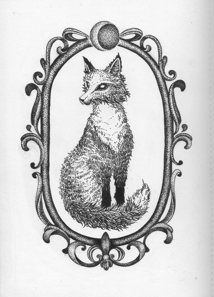 Fox in Frame Dotwork tattoo sketch