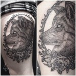 Frame Puppy Etching tattoo by Hidden Moon Tattoo