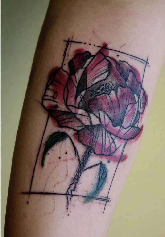 Frame Red Rose Flower Tattoo