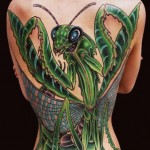 Full Back Mantis New School tattoo