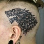 Game od Thrones Wolf head tattoo design