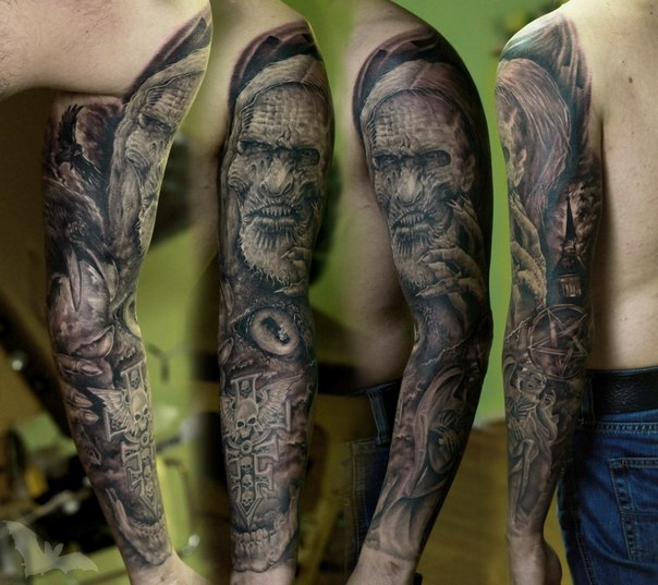 Game of Thrones Old Character tattoo sleeve by Kazhan