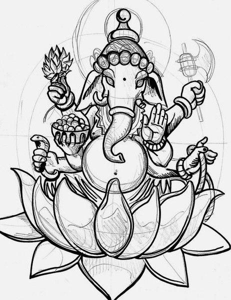 Ganesh Sketchy tattoo sketch