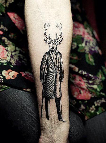 Gentleman Deer Graphic tattoo idea