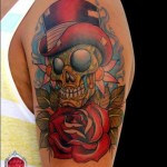 Gentleman Skull New School tattoo by Piranha Tattoo Studio