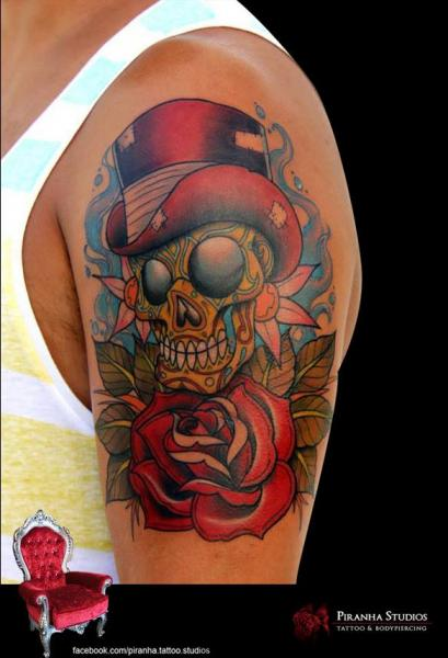Gentleman Scull New School tattoo by Piranha Tattoo Studio