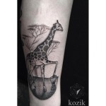 Giraffe Drummer Dotwork tattoo by Hidden Moon Tattoo