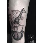 Giraffe Drummer Dotwork tattoo by Hidden Moon Tattoo