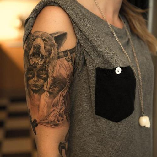 Girl Bear Indian tattoo