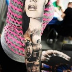 Girl Locomotive Graphwic tattoo sleeve
