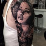 Girl and Snakes Realistic tattoo by Drew Apicture
