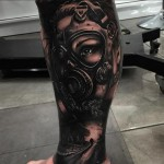Girl in a Gas Mask Realistic tattoo