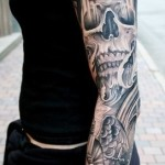 Gothic Church Skull tattoo sleeve