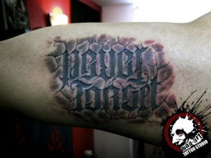Gothic Font Lettering tattoo by Mad-art Tattoo