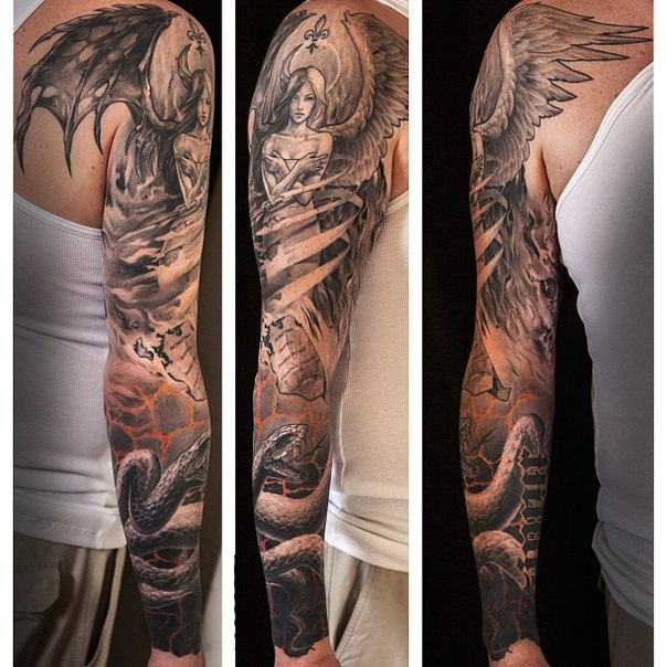 Graphic Angel Girl tattoo sleeve