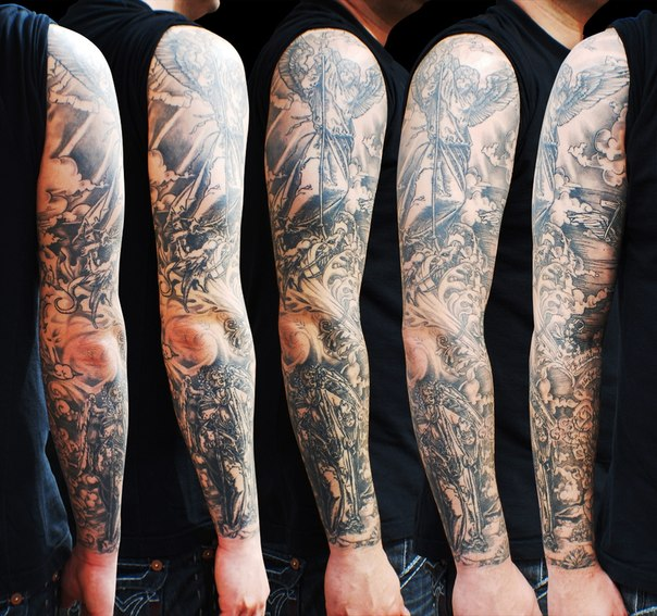 graphic angel and death angel tattoo sleeve best tattoo ideas gallery. Black Bedroom Furniture Sets. Home Design Ideas