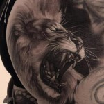 Graphic Growling Lion 3D tattoo by Piranha Tattoo Studio
