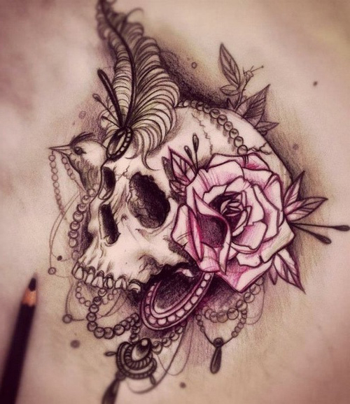 Graphic Reach Scull tattoo