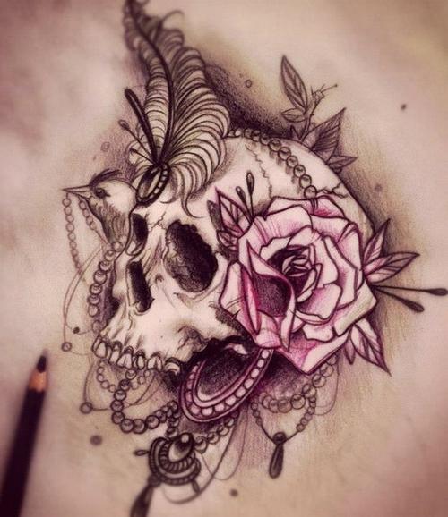 Graphic Reach Scull tattoo