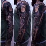 Graphic Samurai Japanese tattoo sleeve