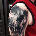 Graphic Shoulder Skull tattoo by Jak Connolly