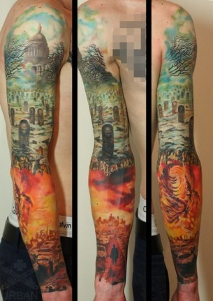 Graveyard and Hell tattoo sleeve