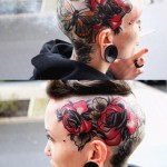 Great Butterfly Roses head tattoo design