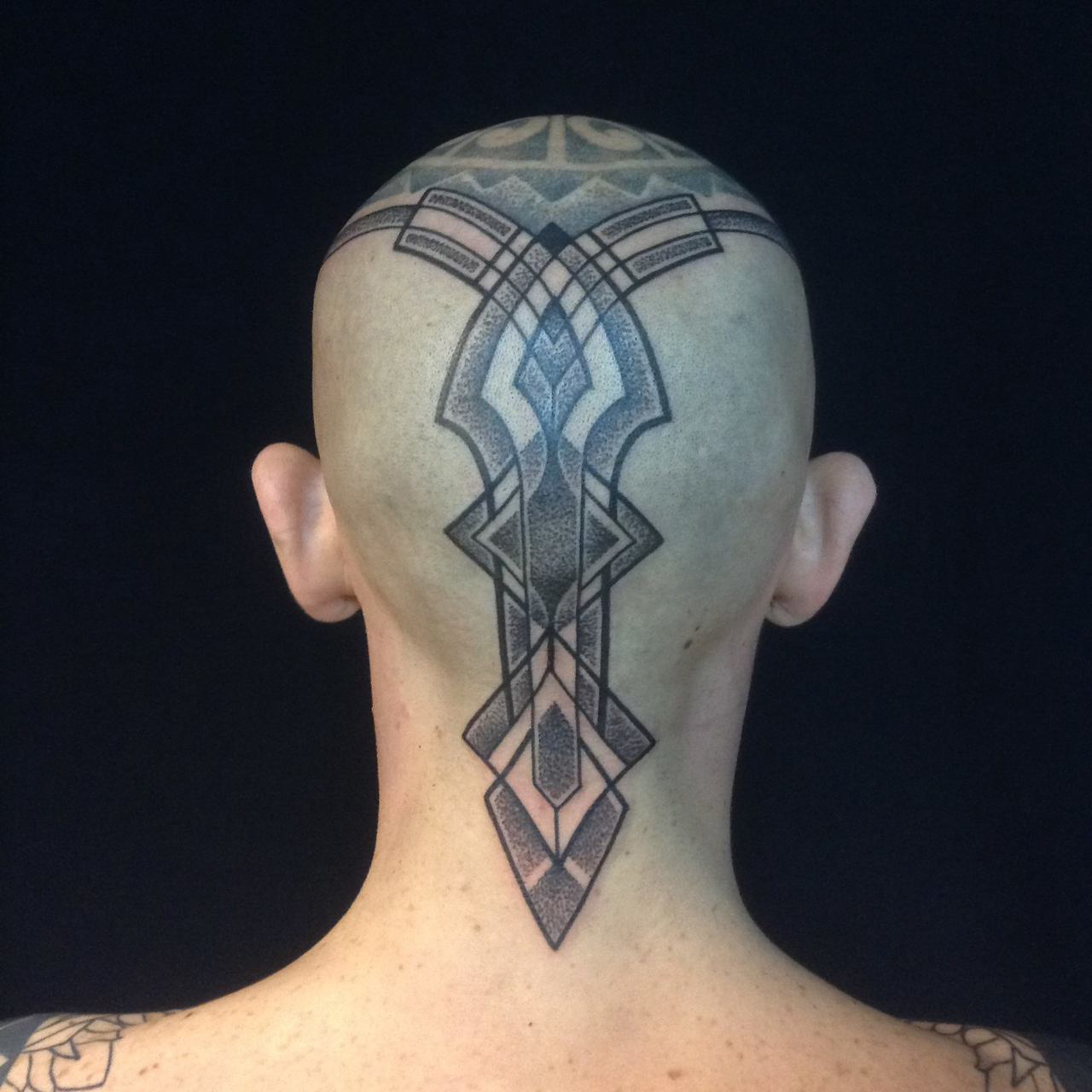 Great Dotwork head tattoo design
