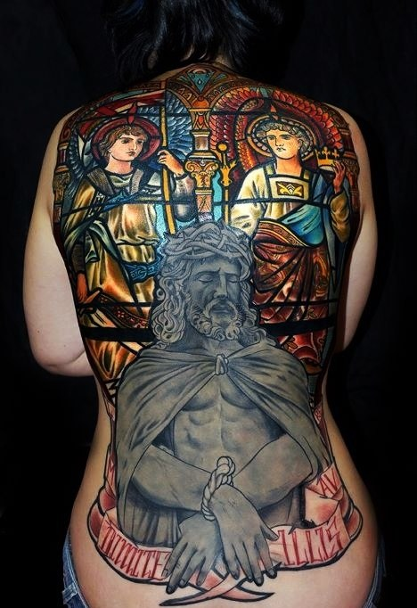Great Stained-Glass Window Religious tattoo