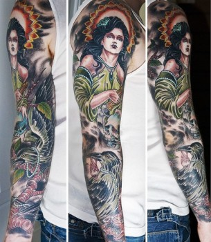 Greedy Ravens Night Girl tattoo sleeve