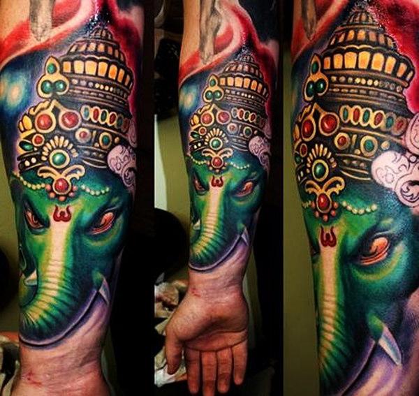 Green Ganesha Head Religious tattoo
