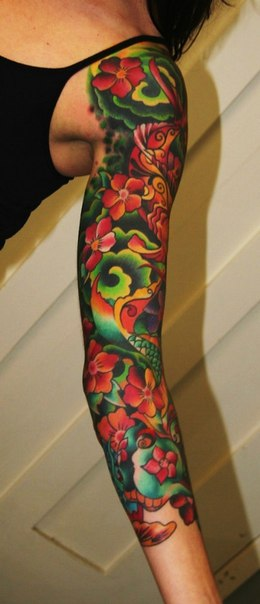 Green Waves and Flowers tattoo sleeve