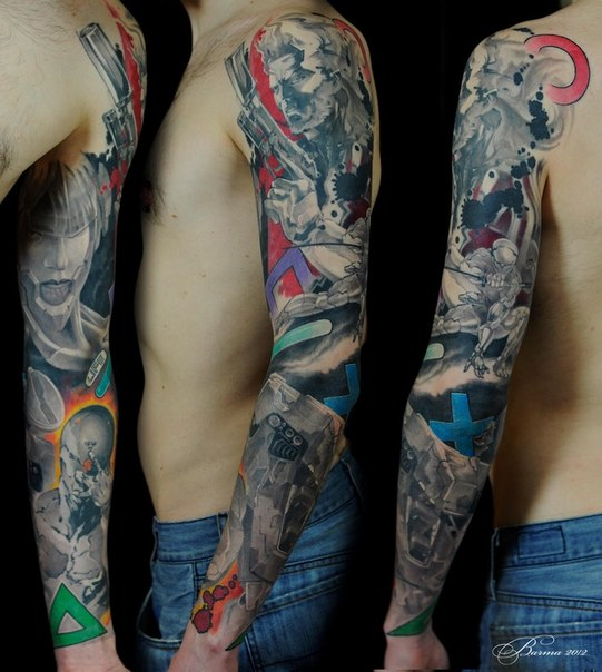 Guns and Anime tattoo sleeve