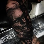 Half Dead Girl Realistic tattoo by Drew Apicture
