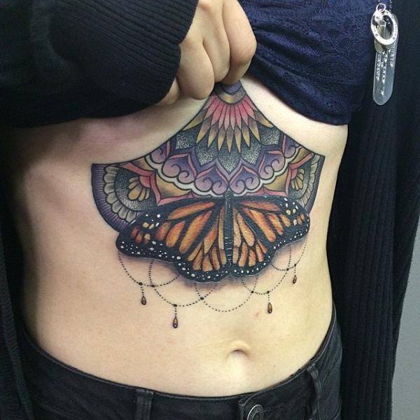 Half Mandala Butterfly tattoo by Last Angels Tattoo