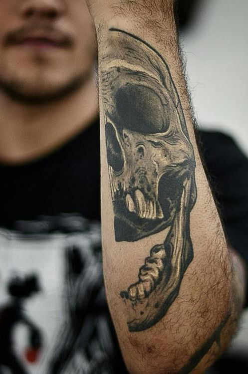 Hand Half Scull tattoo