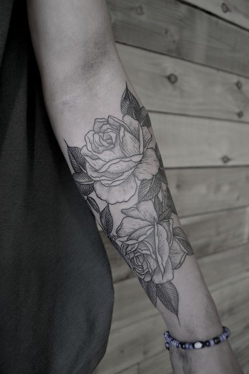 Hand Print Flower tattoo Roses