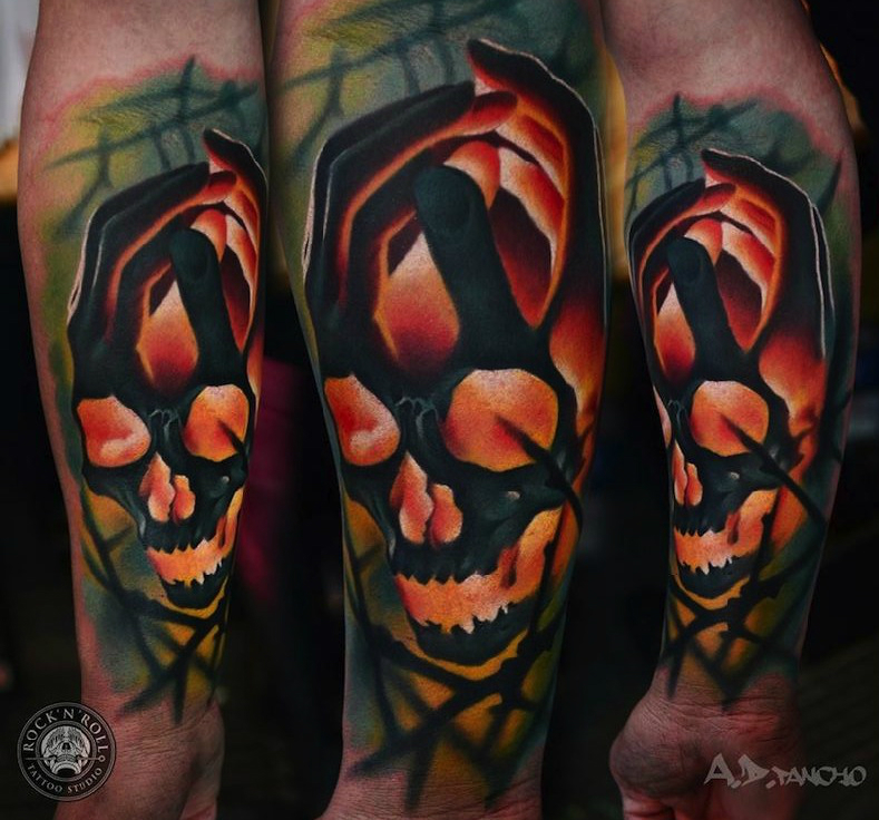 Hands Scull tattoo by AD Pancho