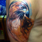 Hawk Aquarelle tattoo by Adam Kremer