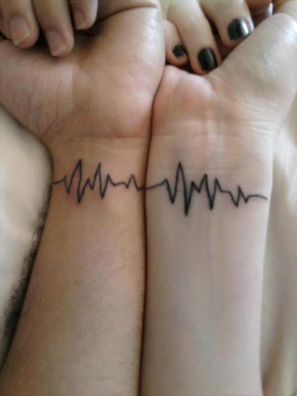 Heart Beat One for Both Couple tattoo