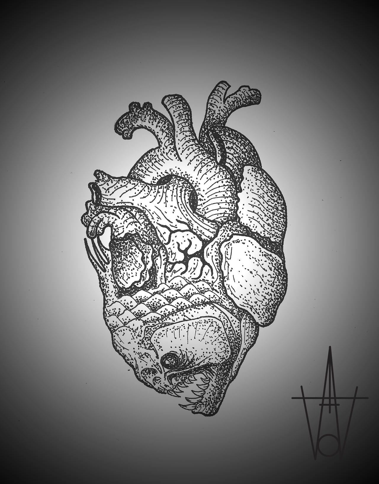 Heart Fish tattoo sketch