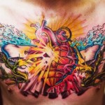 Heart Granade Explosion New School tattoo