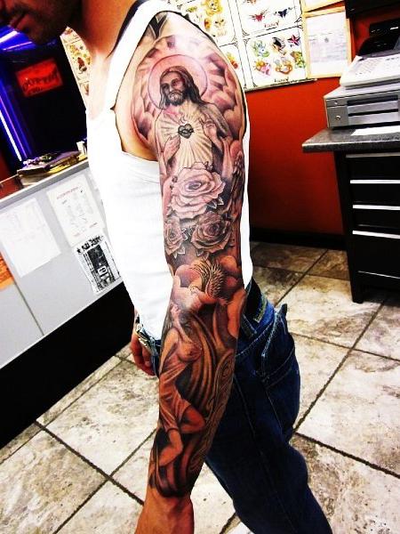 Heart of God Shines Religious tattoo Sleeve